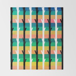 Colorful stripes and black and white tree trunks Throw Blanket
