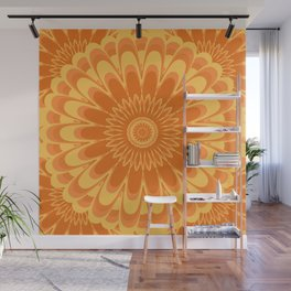 Summer In Full Bloom - Orange Mandala Wall Mural
