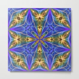 Quilt Tile 3 Gold Metal Print