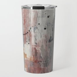 S'il Vous Plait: an abstract mixed-media piece in blue, gray, and gold by Alyssa Hamilton Art Travel Mug