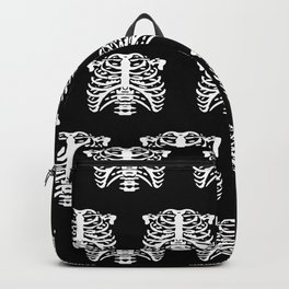Human Rib Cage Pattern Black and White Backpack