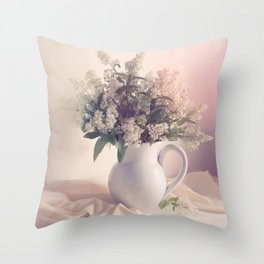 Still life with white privet flowers Throw Pillow