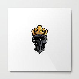 Black Skull King Crown Mascot Sport Esport Logo Template Streamer Team Metal Print