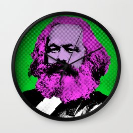 Pop Art Marx in Green Background Wall Clock