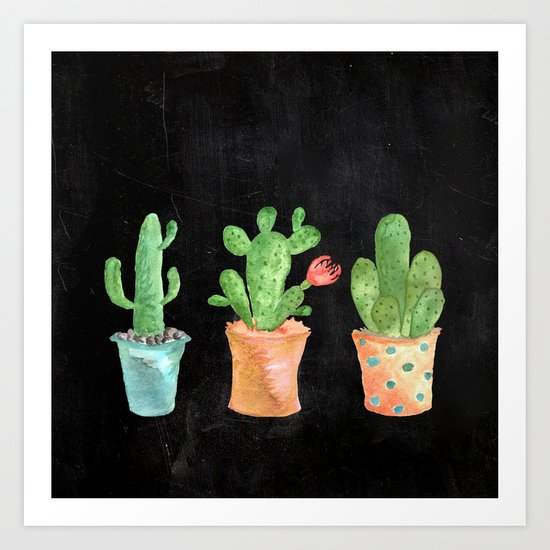 Three Green Cacti On Chalkboard Art Print