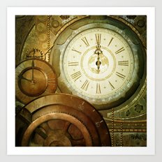 Steampunk, the clocks Art Print