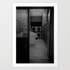 The Laundromat B&W Art Print