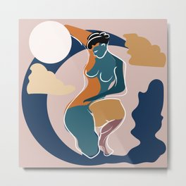 Dreamer girl portrait with moon in orange and blue colors Metal Print