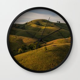 Rolling green Fairytale Hills English Countryside Landscape Wall Clock
