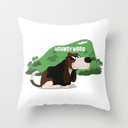 Hollywood Basset Hound Throw Pillow