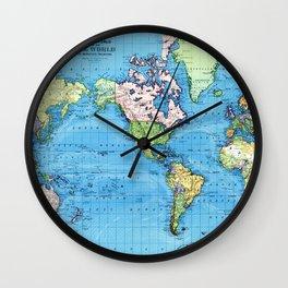 Mercator Map of Ocean Currents Wall Clock