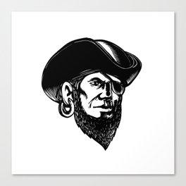 Pirate Wearing Eye Patch Scratchboard Canvas Print