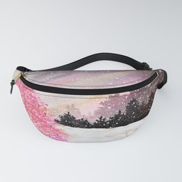 Magical Pink Christmas Tree in Snowy Woods Watercolor Fanny Pack