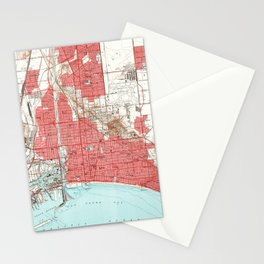 Vintage Map of Long Beach California (1949) 3 Stationery Cards