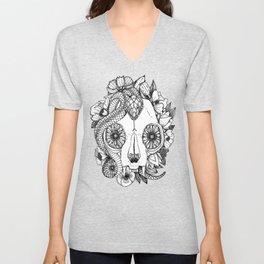 cat skull damask black white Unisex V-Neck