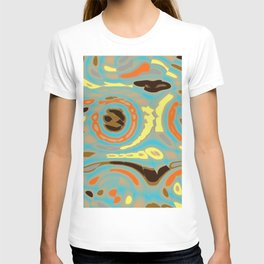 Abstract Design in Orange, Brown, Black and Yellow on Gray T-shirt