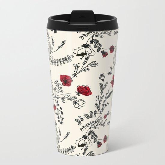 Red Flower Pattern Metal Travel Mug