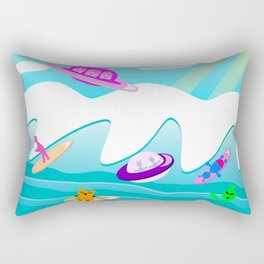 Aliens Go Surfing Rectangular Pillow