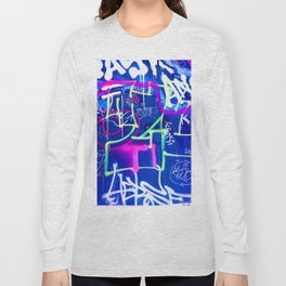 Blue Mood with Pink Language Long Sleeve T-shirt