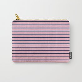 Pink and Navy Blue Horizontal Stripes Carry-All Pouch