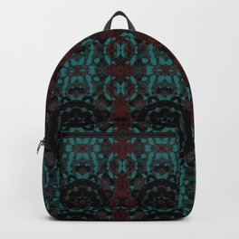Maroon & Cadet Blue Medieval Gothic Pattern with Velvet Black Compass Symbol by artestreestudio Backpack