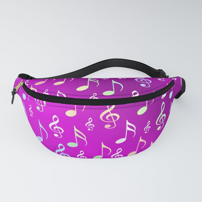 music, note, notes, ribbon, symbol, symbol, pink, purple, silver, pattern textile, fashion, trend, r Fanny Pack