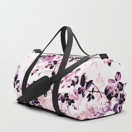 Modern blush pink black watercolor country floral Duffle Bag