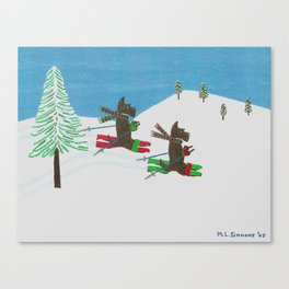 Hitting the Slopes - Scotties - Scottish Terriers Canvas Print