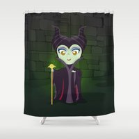 maleficent Shower Curtains featuring Maleficent by Loud & Quiet