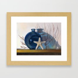 Still life with a blue vase and a starfish Framed Art Print