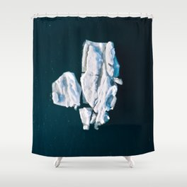 Lone, minimalist Iceberg from above - Landscape Photography Shower Curtain
