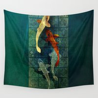 koi Wall Tapestries featuring Koi by Elsa Herrera-Quinonez