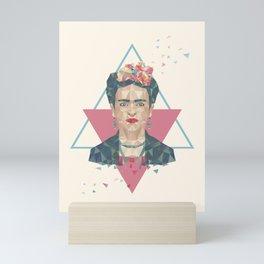 Pastel Frida - Geometric Portrait with Triangles Mini Art Print