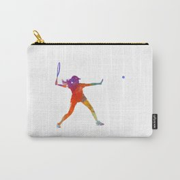 Woman tennis player 01 in watercolor Carry-All Pouch
