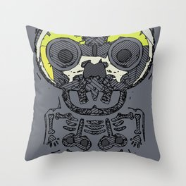 yellow skull and bone graffiti drawing with grey background Throw Pillow