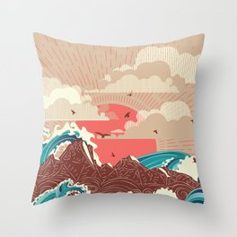 Stylized big waves of ocean or sea at sunset landscape Throw Pillow