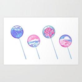 Ocean Blue Lollipop Kunstdrucke