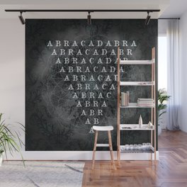 Abracadabra Reversed Pyramid in Charcoal Black Wall Mural