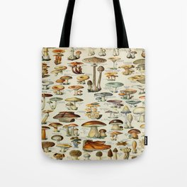 Mushrooms Vintage Scientific Illustration French Language Encyclopedia Lithographs Educational Tote Bag