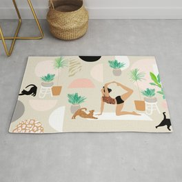 Mid Century Modern Yoga pattern with cats and plants Rug