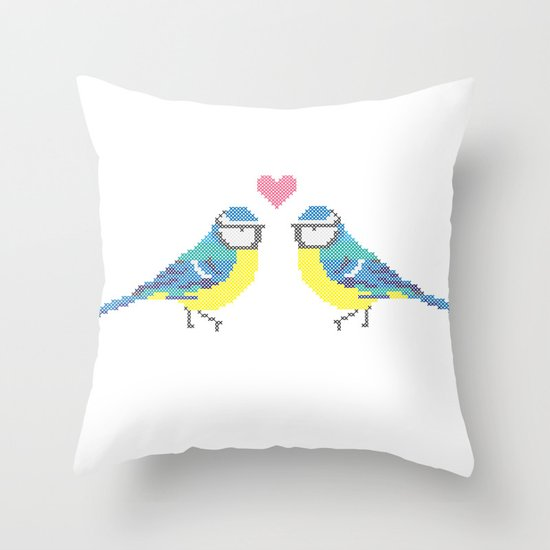 Stitch X Birds Throw Pillow