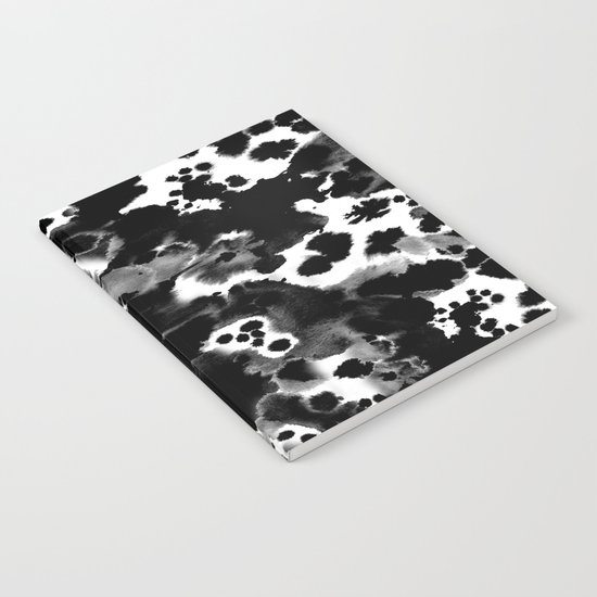 Peti - black and white minimal marble abstract painting brushstrokes modern urban hipster bklyn art Notebook