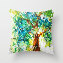 Gold Heart Tree Watercolor by CheyAnne Sexton Throw Pillow