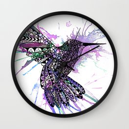 Humming Bird Colour Splash Wall Clock