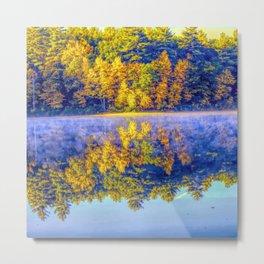 Walden Pond Autumn Time Concord Massachusetts Panorama  Reflection Metal Print