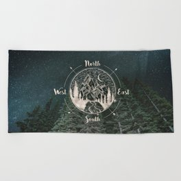 Mountains Compass Milky Way Woods Gold Beach Towel