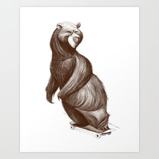 Skatepark Bear Art Print