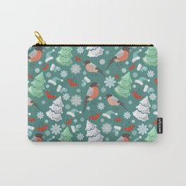 Winter birds blue pattern Carry-All Pouch