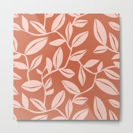 Orchard - Leaf Botanical Terra Cotta & Blush Metal Print