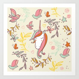 Vintage Dreams Unicorn Art Print